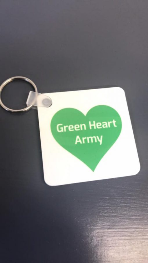 Sing United Key Ring Green Heart Army